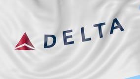Κυματίζοντας σημαία της Delta Air Lines στο κλίμα μπλε ουρανού, άνευ ραφής βρόχος Εκδοτική 4K ζωτικότητα απόθεμα βίντεο
