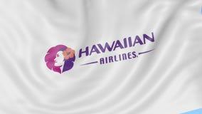 Κυματίζοντας σημαία της Hawaiian Airlines στο κλίμα μπλε ουρανού, άνευ ραφής βρόχος Εκδοτική 4K ζωτικότητα διανυσματική απεικόνιση