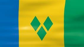 Κυματίζοντας σημαία του Άγιου Βικεντίου και Γρεναδίνες, έτοιμη για τον άνευ ραφής βρόχο διανυσματική απεικόνιση