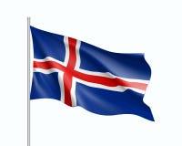 Κυματίζοντας σημαία του κράτους της Ισλανδίας Στοκ Φωτογραφίες