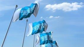 Κυματίζοντας σημαίες με το λογότυπο της American Express ενάντια στον ουρανό, εκδοτική τρισδιάστατη απόδοση διανυσματική απεικόνιση