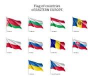 Κυματίζοντας σημαίες της Ανατολικής Ευρώπης Στοκ εικόνες με δικαίωμα ελεύθερης χρήσης