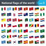 Κυματίζοντας σημαίες του κόσμου Συλλογή των σημαιών - πλήρες σύνολο εθνικών σημαιών Στοκ εικόνες με δικαίωμα ελεύθερης χρήσης