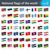 Κυματίζοντας σημαίες του κόσμου Συλλογή των σημαιών - πλήρες σύνολο εθνικών σημαιών Στοκ Εικόνες