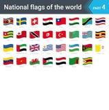 Κυματίζοντας σημαίες του κόσμου Συλλογή των σημαιών - πλήρες σύνολο εθνικών σημαιών ελεύθερη απεικόνιση δικαιώματος