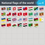 Κυματίζοντας σημαίες του κόσμου Συλλογή των σημαιών - πλήρες σύνολο εθνικών σημαιών απεικόνιση αποθεμάτων