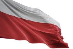 Κυματισμός εθνικών σημαιών της Πολωνίας που απομονώνεται στην άσπρη τρισδιάστατη απεικόνιση υποβάθρου ελεύθερη απεικόνιση δικαιώματος