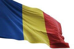 Κυματισμός εθνικών σημαιών της Ρουμανίας που απομονώνεται στην άσπρη τρισδιάστατη απεικόνιση υποβάθρου ελεύθερη απεικόνιση δικαιώματος