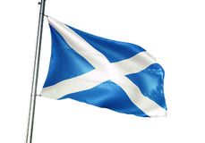 Κυματισμός εθνικών σημαιών της Σκωτίας που απομονώνεται στην άσπρη ρεαλιστική τρισδιάστατη απεικόνιση υποβάθρου ελεύθερη απεικόνιση δικαιώματος