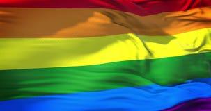 Κυματισμός ζωηρόχρωμος της ομοφυλοφιλικής σημαίας ουράνιων τόξων υπερηφάνειας, πολιτικού δικαιώματος τρισδιάστατη απόδοση περιτύλ φιλμ μικρού μήκους