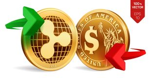 Κυματισμός στην ανταλλαγή νομίσματος δολαρίων κυμάτωση όμορφο διάνυσμα απεικόνισης δολαρίων νομισμάτων Cryptocurrency Χρυσά νομίσ απεικόνιση αποθεμάτων