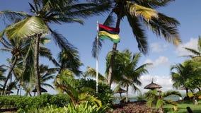 κυματισμός του Μαυρίκιου σημαιών απόθεμα βίντεο