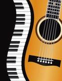Κυματιστά σύνορα πιάνων με την απεικόνιση κιθάρων Στοκ εικόνα με δικαίωμα ελεύθερης χρήσης