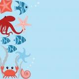 Διανυσματική κάρτα με τα ζώα θάλασσας Στοκ εικόνες με δικαίωμα ελεύθερης χρήσης