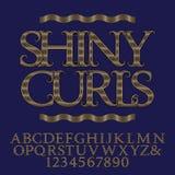 Κυματιστοί διαμορφωμένοι γραμμές χρυσοί κεφαλαία γράμματα και αριθμοί Στοκ φωτογραφία με δικαίωμα ελεύθερης χρήσης
