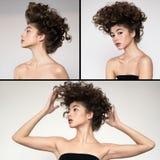 Κυματιστός όγκος μόδας hairstyle Κολάζ στοκ φωτογραφίες