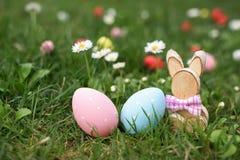 Κυνήγι Πάσχας - μπλε και ρόδινα αυγά κοτών και ξύλινο λαγουδάκι σε μια  στοκ εικόνες