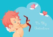 Κυνήγι Cupid με τις πετώντας καρδιές τόξων τοξοβολίας Απεικόνιση αποθεμάτων