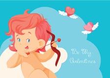 Κυνήγι Cupid με τις πετώντας καρδιές τόξων τοξοβολίας Ελεύθερη απεικόνιση δικαιώματος
