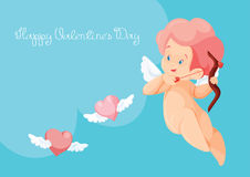 Κυνήγι Cupid με τις πετώντας καρδιές τόξων archey Παίζοντας μουσική Cupid Απεικόνιση αποθεμάτων