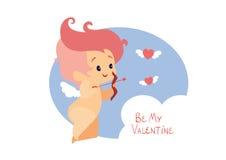 Κυνήγι Cupid με τις πετώντας καρδιές τόξων archey Χειρόγραφο μήνυμα ημέρας βαλεντίνων αναφοράς διασκέδασης Στοκ Εικόνες