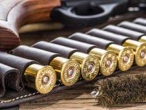 Κυνηγετικό όπλο δράσης αντλιών, κασέτα 12 μετρητών και έμβολο Στοκ Εικόνα