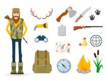 Κυνηγός και εξαρτήματα για το σύνολο εικονιδίων κυνηγιού Στοκ Εικόνες
