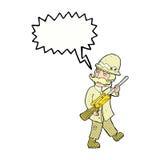 κυνηγός μεγάλων παιχνιδιών κινούμενων σχεδίων με τη λεκτική φυσαλίδα Στοκ εικόνα με δικαίωμα ελεύθερης χρήσης