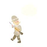 κυνηγός μεγάλων παιχνιδιών κινούμενων σχεδίων με τη σκεπτόμενη φυσαλίδα Στοκ φωτογραφία με δικαίωμα ελεύθερης χρήσης