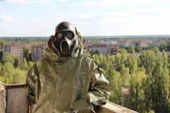 Κυνηγός στη πόλη-φάντασμα Pripyat στοκ εικόνα με δικαίωμα ελεύθερης χρήσης