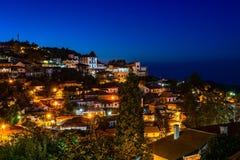 Κυπριακά του χωριού οδοί Pedoulas και σπίτια, πανόραμα νύχτας, Tro στοκ εικόνα με δικαίωμα ελεύθερης χρήσης