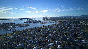 Κυρίαρχα νησιά και σημείο παραδείσου που απασχολεί το γήπεδο του γκολφ νησιών ελπίδας Gold Coast παραδείσου surfers και το μπροστ στοκ εικόνες με δικαίωμα ελεύθερης χρήσης