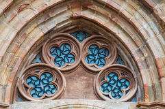 Κυρία είσοδος στη γοτθική εκκλησία Castro Urdiales, Ισπανία Στοκ εικόνα με δικαίωμα ελεύθερης χρήσης