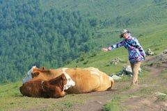 Κυρία και cattles Στοκ φωτογραφία με δικαίωμα ελεύθερης χρήσης