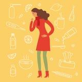 Κυρία κινούμενων σχεδίων με τη γρίπη και το κρύο symtoms διανυσματική απεικόνιση