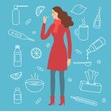 Κυρία κινούμενων σχεδίων με τη γρίπη και το κρύο symtoms Στοκ Εικόνα