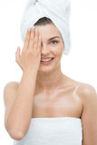 Κυρία με την πετσέτα τουρμπανιών Στοκ Φωτογραφία