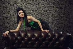 Κυρία σε πράσινο Στοκ Εικόνα