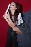 Κυρία στο ιαπωνικό ύφος υφασμάτων anime Στοκ φωτογραφία με δικαίωμα ελεύθερης χρήσης