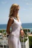 Κυρία στο διαφανές φόρεμα δαντελλών Στοκ Φωτογραφία