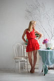 Κυρία στο κόκκινο Στοκ εικόνες με δικαίωμα ελεύθερης χρήσης