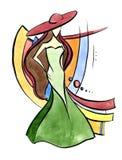 Κυρία στο πράσινο φόρεμα και το κόκκινο καπέλο Ελεύθερη απεικόνιση δικαιώματος