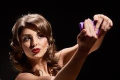 Κυρία φιλιών selfie Στοκ εικόνες με δικαίωμα ελεύθερης χρήσης