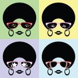 Κυρία Afro με πολλές μορφές γυαλιών Στοκ εικόνες με δικαίωμα ελεύθερης χρήσης