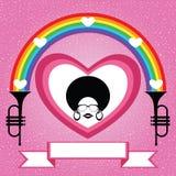 Κυρία Afro με το ουράνιο τόξο και τη σάλπιγγα Στοκ φωτογραφία με δικαίωμα ελεύθερης χρήσης