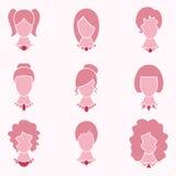 Κυρία Fashion Style With Hair και εικονίδιο κοσμήματος καθορισμένο - διάνυσμα Στοκ Φωτογραφία