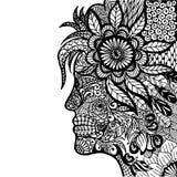 Κυρία Flower Zentangle Στοκ Εικόνα