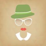 Κυρία Hipster με ένα καπέλο και ένα περιλαίμιο διανυσματική απεικόνιση