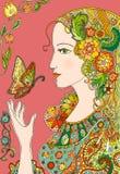 Κυρία Summer με τα λουλούδια και τις πεταλούδες ζωηρόχρωμο doodle Στοκ Φωτογραφίες