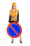 Κυρία Worker με το οδικό σημάδι Στοκ εικόνες με δικαίωμα ελεύθερης χρήσης